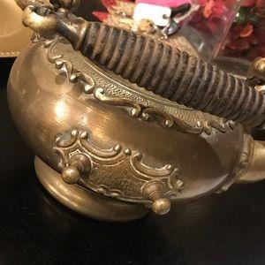 Antique solid brass tea kettle